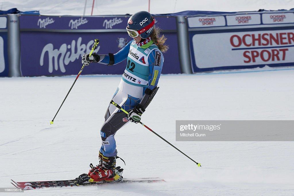 Mikaela Shiffrin of USA reacts in the finish area of the Audi FIS Alpine Ski World Giant Slalom race on December 9 2012 in St Moritz, Switzerland.