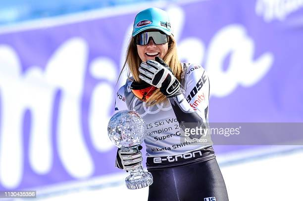 Mikaela Shiffrin of USA Ski Team after win the Cristal Globe during Ladies SuperG Audi FIS Ski World Cup race on March 14 2019 in El Tarter Andorra