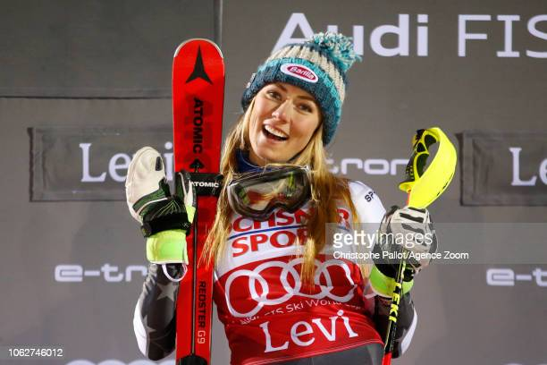 Mikaela Shiffrin of USA takes 1st place during the Audi FIS Alpine Ski World Cup Women's Slalom on November 17 2018 in Levi Finland
