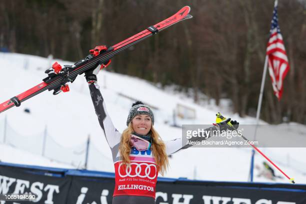 Mikaela Shiffrin of USA takes 1st place during the Audi FIS Alpine Ski World Cup Women's Slalom on November 25 2018 in Killington USA