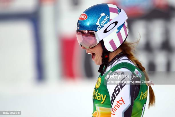 Mikaela Shiffrin of USA takes 1st place during the Audi FIS Alpine Ski World Cup Women's Super G on December 2 2018 in Lake Louise Canada
