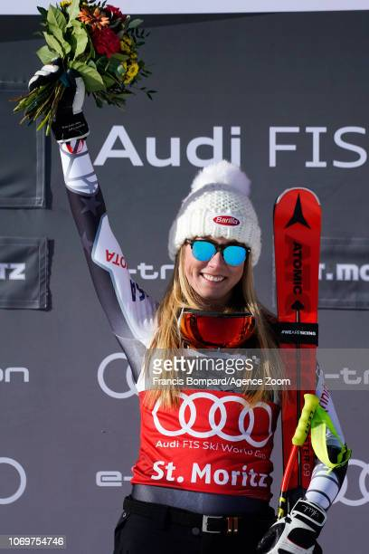 Mikaela Shiffrin of USA takes 1st place during the Audi FIS Alpine Ski World Cup Women's Super G on December 8 2018 in St Moritz Switzerland