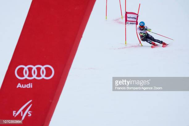 Mikaela Shiffrin of USA takes 1st place during the Audi FIS Alpine Ski World Cup Women's Parallel Slalom on December 9, 2018 in St Moritz Switzerland.