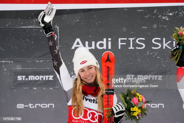Mikaela Shiffrin of USA takes 1st place during the Audi FIS Alpine Ski World Cup Women's Parallel Slalom on December 9 2018 in St Moritz Switzerland