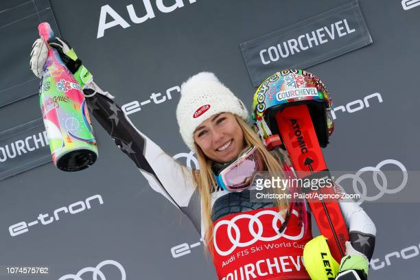 Mikaela Shiffrin of USA takes 1st place during the Audi FIS Alpine Ski World Cup Women's Slalom on December 22 2018 in Courchevel France