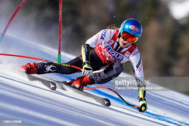 Mikaela Shiffrin of USA takes 1st place during the Audi FIS Alpine Ski World Cup Women's Super G on January 20 2019 in Cortina d'Ampezzo Italy