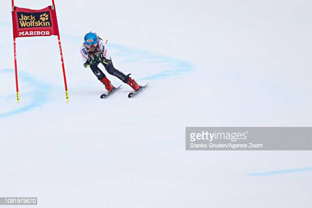 Mikaela Shiffrin of USA takes 1st place during the Audi FIS Alpine Ski World Cup Women's Giant Slalom on February 1 2019 in Maribor Slovenia