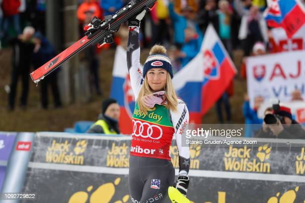 Mikaela Shiffrin of USA takes 1st place during the Audi FIS Alpine Ski World Cup Women's Slalom on February 2 2019 in Maribor Slovenia