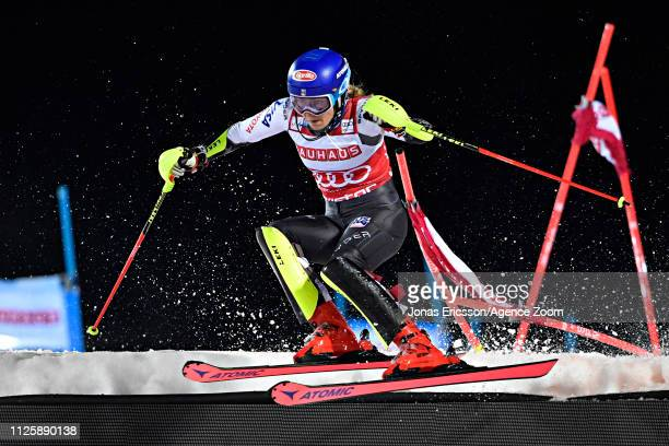 Mikaela Shiffrin of USA takes 1st place during the Audi FIS Alpine Ski World Cup Men's and Women's City Event on February 19 2019 in Stockholm Sweden