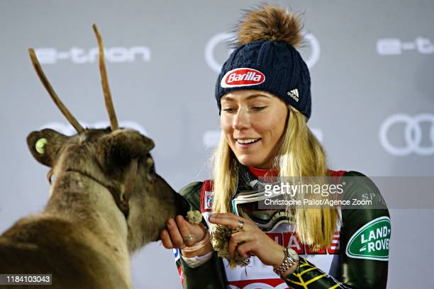 Mikaela Shiffrin of USA takes 1st place during the Audi FIS Alpine Ski World Cup Women's Slalom on November 23, 2019 in Levi Finland.