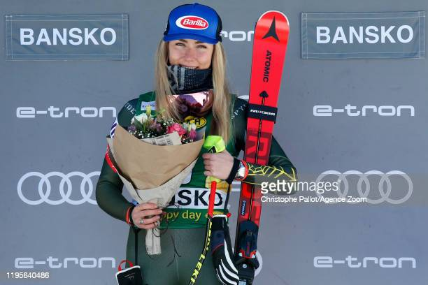 Mikaela Shiffrin of USA takes 1st place during the Audi FIS Alpine Ski World Cup Women's Downhill on January 24 2020 in Bansko Bulgaria