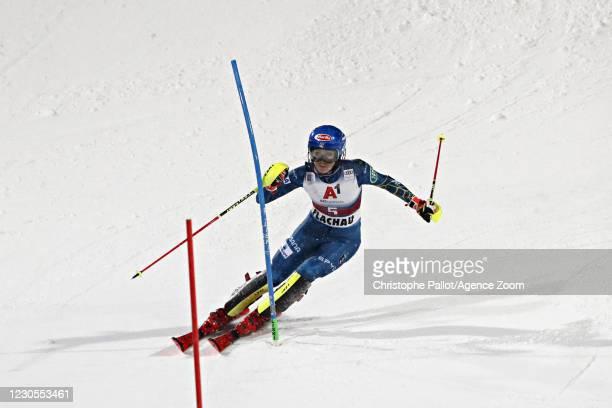 Mikaela Shiffrin of USA takes 1st place during the Audi FIS Alpine Ski World Cup Women's Slalom on January 12, 2021 in Flachau Austria.