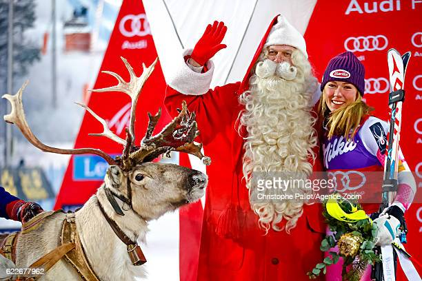 Mikaela Shiffrin of USA takes 1st place during the Audi FIS Alpine Ski World Cup Women's Slalom on November 12 2016 in Levi Finland