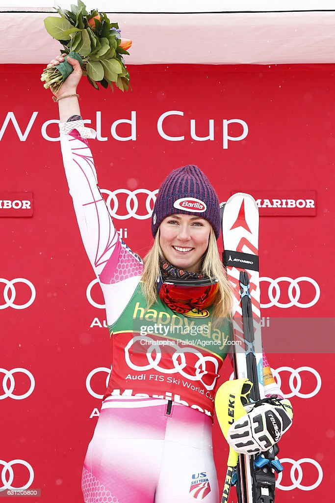 Mikaela Shiffrin of USA takes 1st place during the Audi FIS Alpine Ski World Cup Women's Slalom on January 08, 2017 in Maribor, Slovenia