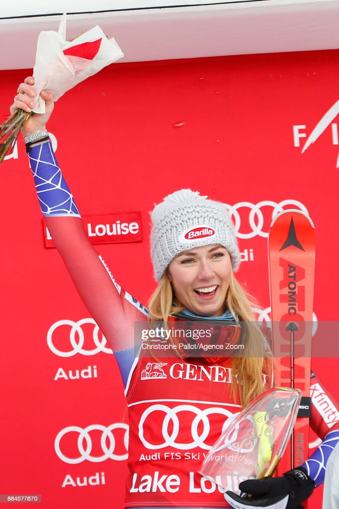 Mikaela Shiffrin of USA takes 1st place during the Audi FIS Alpine Ski World Cup Women's Downhill on December 2, 2017 in Lake Louise, Canada.