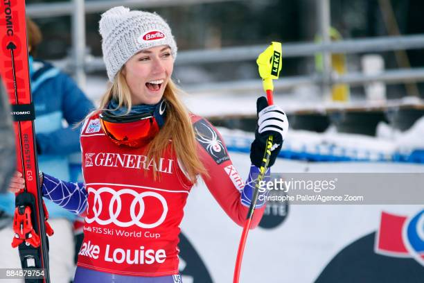 Mikaela Shiffrin of USA takes 1st place during the Audi FIS Alpine Ski World Cup Women's Downhill on December 2 2017 in Lake Louise Canada