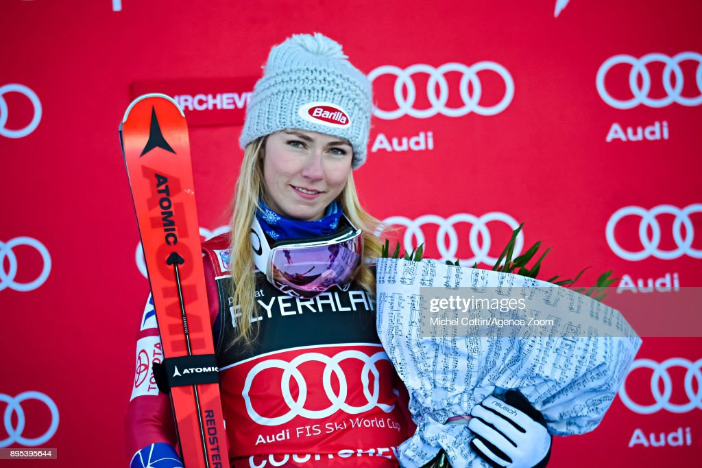 Mikaela Shiffrin of USA takes 1st place during the Audi FIS Alpine Ski World Cup Women's Giant Slalom on December 19, 2017 in Courchevel, France.