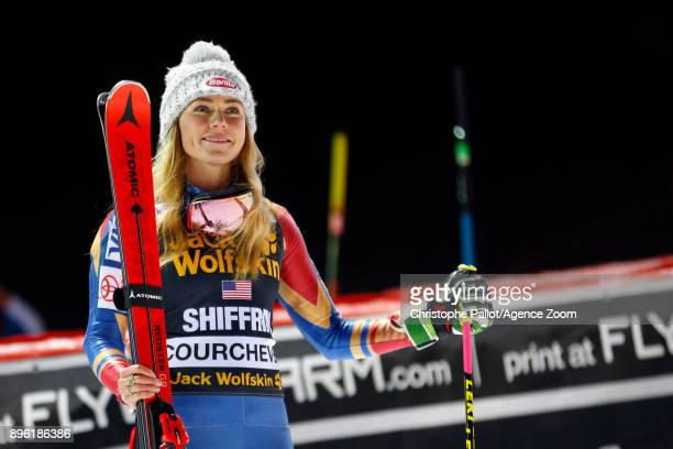 Mikaela Shiffrin of USA takes 1st place during the Audi FIS Alpine Ski World Cup Women's Parallel Slalom on December 20 2017 in Courchevel France