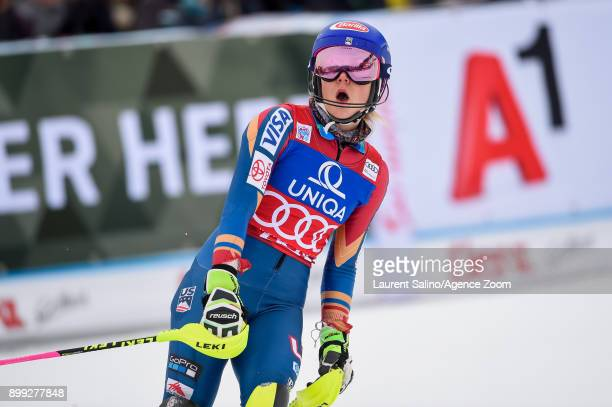 Mikaela Shiffrin of USA takes 1st place during the Audi FIS Alpine Ski World Cup Women's Slalom on December 28, 2017 in Lienz, Austria.
