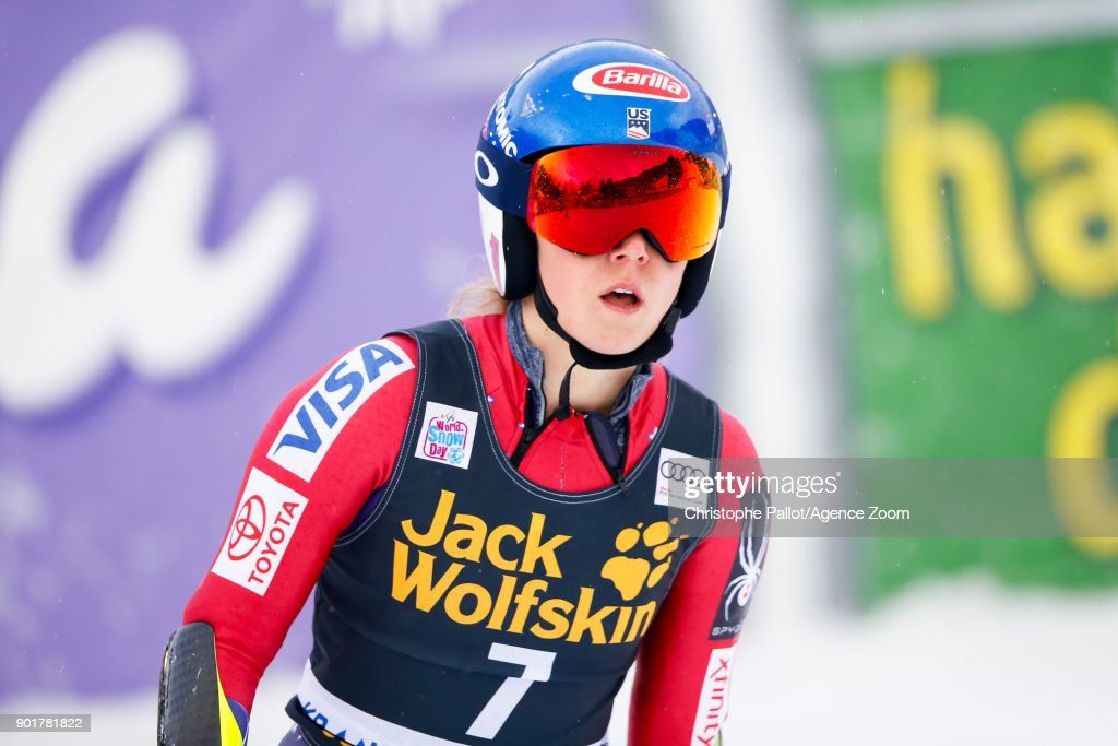 Mikaela Shiffrin of USA takes 1st place during the Audi FIS Alpine Ski World Cup Women's Giant Slalom on January 6, 2018 in Kranjska Gora, Slovenia.