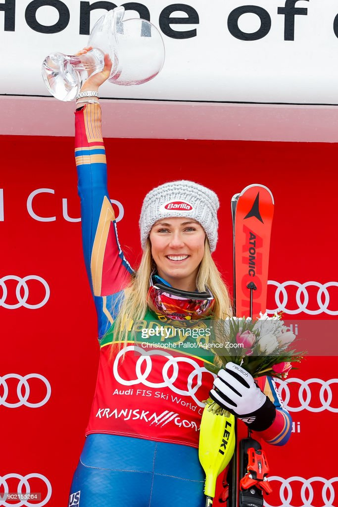 Mikaela Shiffrin of USA takes 1st place during the Audi FIS Alpine Ski World Cup Women's Slalom on January 7, 2018 in Kranjska Gora, Slovenia.