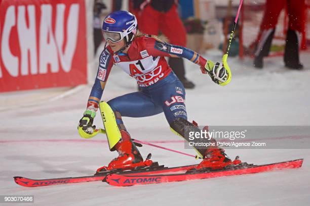 Mikaela Shiffrin of USA takes 1st place during the Audi FIS Alpine Ski World Cup Women's Slalom on January 9 2018 in Flachau Austria