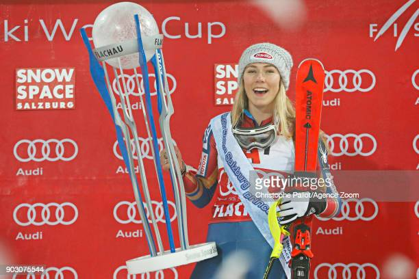 Mikaela Shiffrin of USA takes 1st place during the Audi FIS Alpine Ski World Cup Women's Slalom on January 9 2018 in Flachau Austria