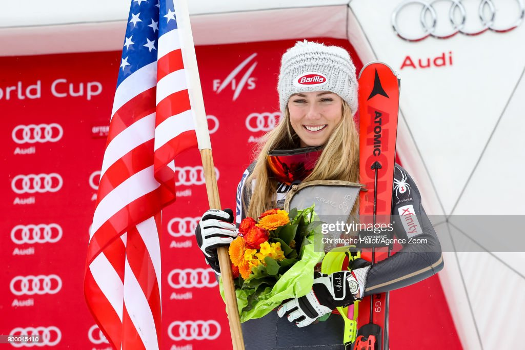 Mikaela Shiffrin of USA takes 1st place during the Audi FIS Alpine Ski World Cup Women's Slalom on March 10, 2018 in Ofterschwang, Germany.
