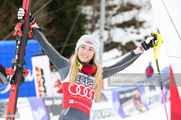 Mikaela Shiffrin of USA takes 1st place during the Audi FIS Alpine Ski World Cup Women's Slalom on March 10 2018 in Ofterschwang Germany