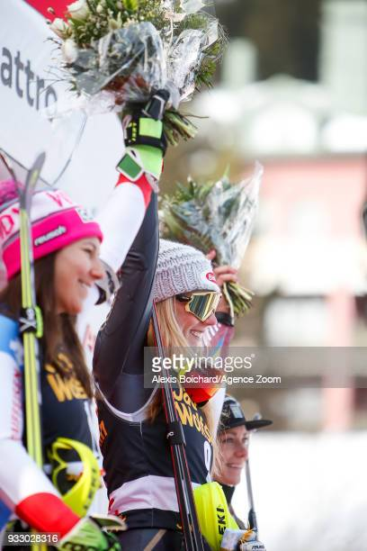 Mikaela Shiffrin of USA takes 1st place during the Audi FIS Alpine Ski World Cup Finals Women's Slalom on March 17 2018 in Are Sweden