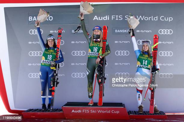 Mikaela Shiffrin of USA takes 1st place, Federica Brignone of Italy takes 2nd place, Joana Haehlen of Switzerland takes 3rd place during the Audi FIS...