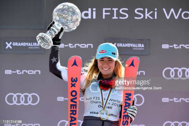 Mikaela Shiffrin of USA takes 1st place in the overall standings during the Audi FIS Alpine Ski World Cup Women on March 17 2019 in Soldeu Andorra