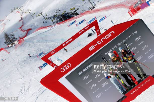 Mikaela Shiffrin of USA takes 1st place Lara Gutbehrami takes 2nd place Tina Weirather of Liechtenstein takes 3rd place during the Audi FIS Alpine...