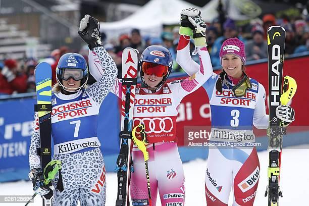 Mikaela Shiffrin of USA takes 1st place Veronika Velez Zuzulova of Slovakia takes 2nd place Wendy Holdener of Switzerland takes 3rd place during the...