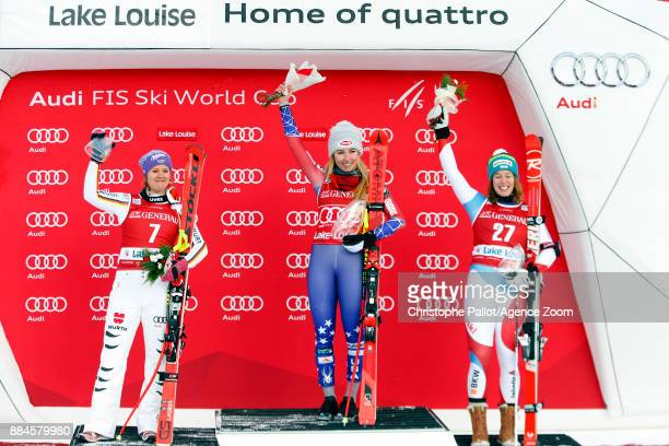Mikaela Shiffrin of USA takes 1st place Viktoria Rebensburg of Germany takes 2nd place Michelle Gisin of Switzerland takes 3rd place during the Audi...