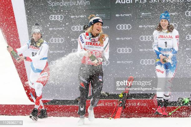 Mikaela Shiffrin of USA takes 1st place Wendy Holdener of Switzerland takes 2nd place Petra Vlhova of Slovakia takes 3rd place during the Audi FIS...