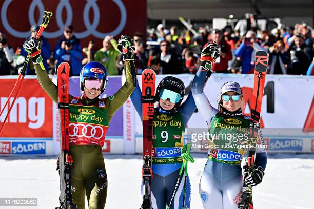 Mikaela Shiffrin of USA takes 2nd place Alice Robinson of New Zealand takes 1st place Tessa Worley of France takes 3rd place during the Audi FIS...