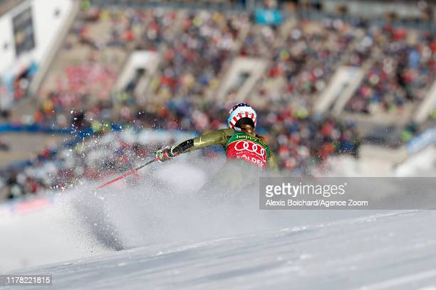 Mikaela Shiffrin of USA takes 2nd place during the Audi FIS Alpine Ski World Cup Women's Giant Slalom on October 26, 2019 in Soelden, Austria.