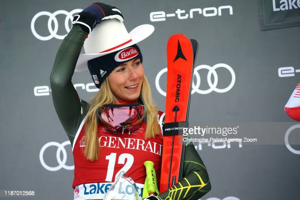 Mikaela Shiffrin of USA takes 2nd place during the Audi FIS Alpine Ski World Cup Women's Downhill on December 7, 2019 in Lake Louise Canada.