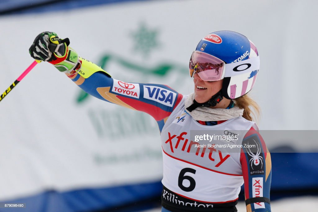 Mikaela Shiffrin of USA takes 2nd place during the Audi FIS Alpine Ski World Cup Women's Giant Slalom on November 25, 2017 in Killington, Vermont.