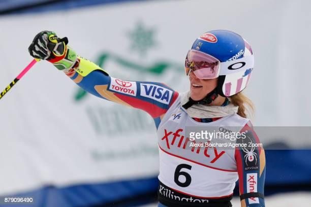 Mikaela Shiffrin of USA takes 2nd place during the Audi FIS Alpine Ski World Cup Women's Giant Slalom on November 25 2017 in Killington Vermont