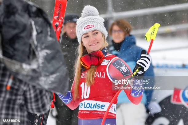 Mikaela Shiffrin of USA takes 2nd place during the Audi FIS Alpine Ski World Cup Women's Downhill on December 1 2017 in Lake Louise Canada