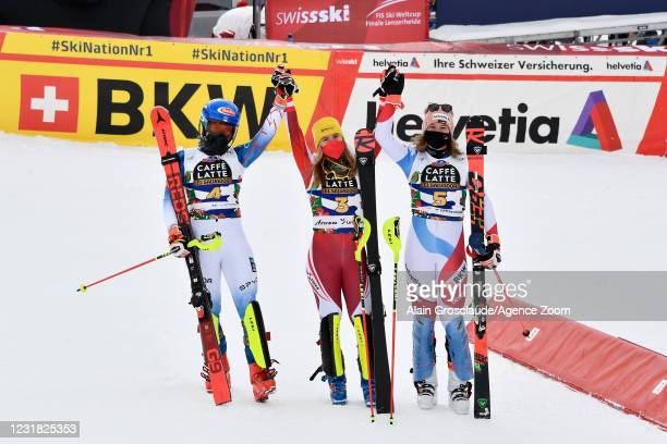 Mikaela Shiffrin of USA takes 2nd place, Katharina Liensberger of Austria takes 1st place, Michelle Gisin of Switzerland takes 3rd place during the...