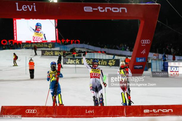 Mikaela Shiffrin of USA takes 2nd place, Petra Vlhova of Slovakia takes 1st place, Katharina Liensberger of Austria takes 3rd place during the Audi...