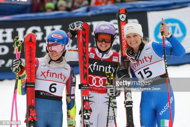 Mikaela Shiffrin of USA takes 2nd place Viktoria Rebensburg of Germany takes 1st place Manuela Moelgg of Italy takes 3rd place during the Audi FIS...