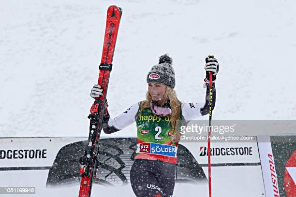 Mikaela Shiffrin of USA takes 3rd place during the Audi FIS Alpine Ski World Cup Women's Giant Slalom on October 27 2018 in Soelden Austria