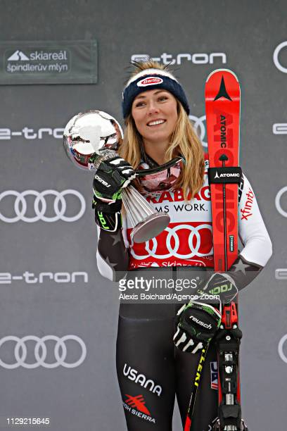 Mikaela Shiffrin of USA takes 3rd place during the Audi FIS Alpine Ski World Cup Women's Giant Slalom on March 8 2019 in Spindleruv Mlyn Czech...