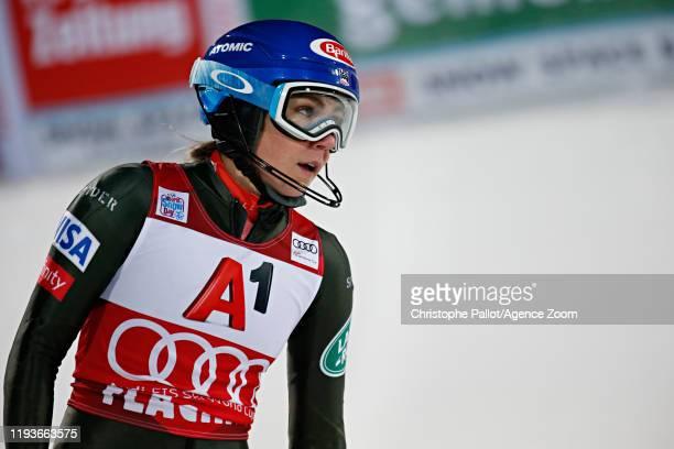Mikaela Shiffrin of USA takes 3rd place during the Audi FIS Alpine Ski World Cup Women's Slalom on January 14, 2020 in Flachau Austria.
