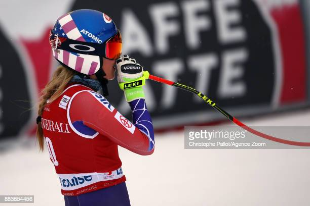 Mikaela Shiffrin of USA takes 3rd place during the Audi FIS Alpine Ski World Cup Women's Downhill on December 1 2017 in Lake Louise Canada