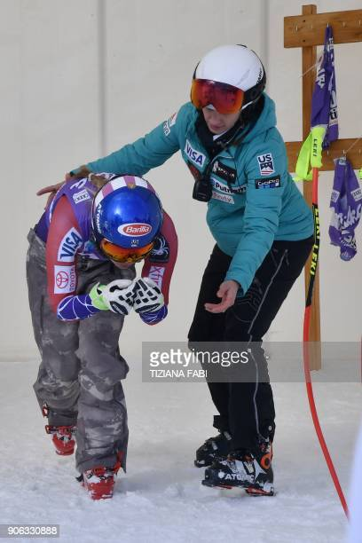 Mikaela Shiffrin of USA takes part in a training session on the eve of the FIS Alpine World Cup Women's Downhill replaces Val d'Isere event on...